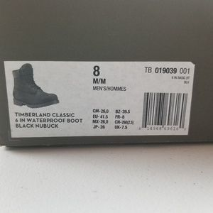 "Original Timberland Black 6/"" New In Box Men/'s Size TB 019039 001"